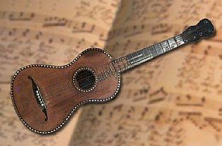 Original-Gitarre von Uraufführung, ausgestellt im Stille Nacht Museum in Hallein