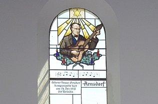 Franz Xaver Gruber, Kirchenfenster Stille Nacht Kapelle © Alexander Gautsch