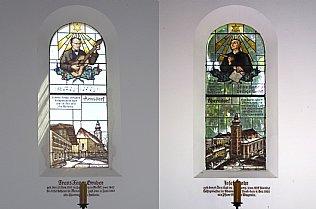 Windows of Silent Night Chapel, Franz Xaver Gruber and Josef Mohr © Alexander Gautsch